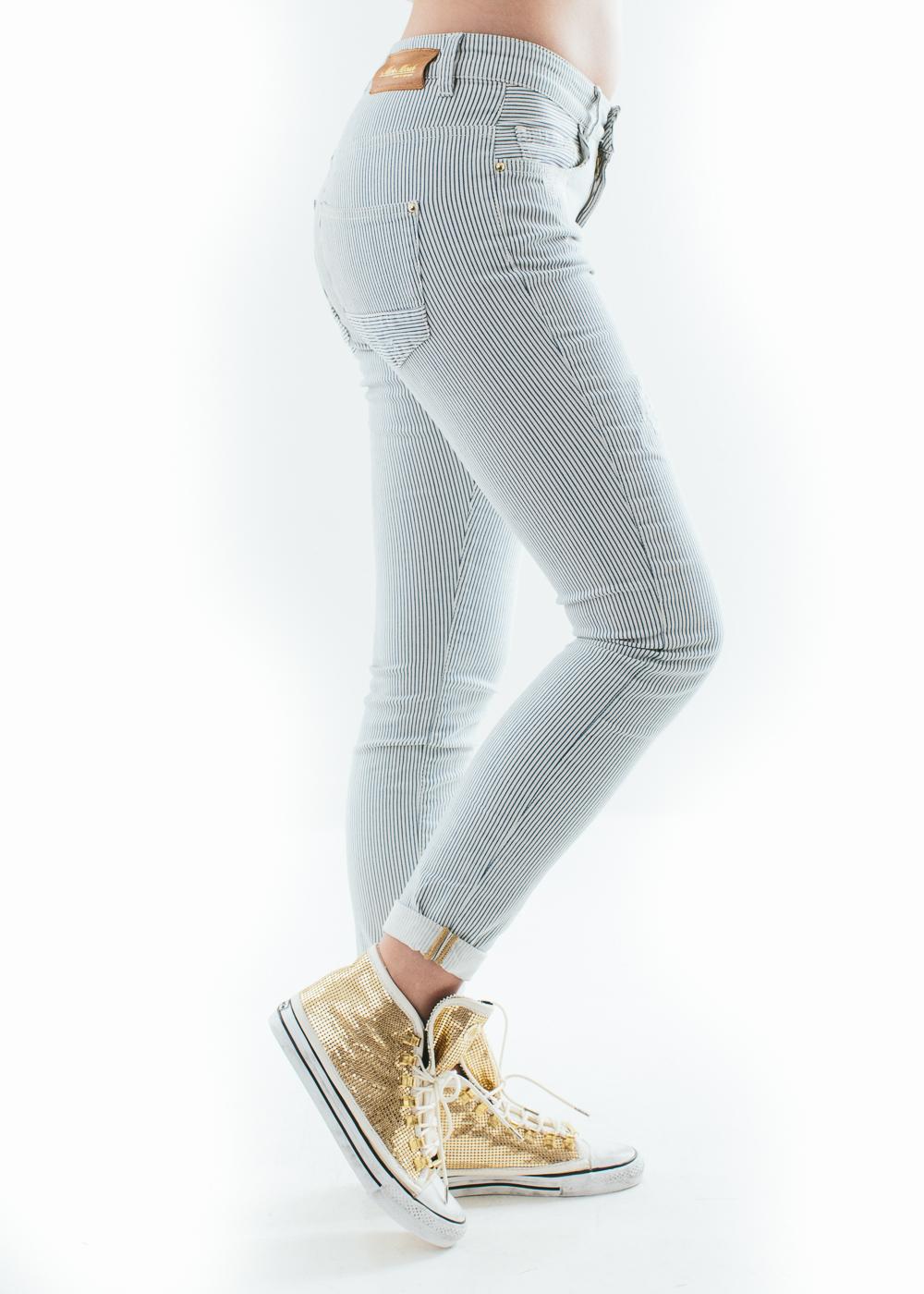 blauw wit gestreepte broek dames