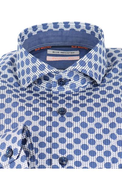 Heren Overhemd Blauw.Sportique Zeewolde Heren Blauw Geprint Heren Overhemd Blue
