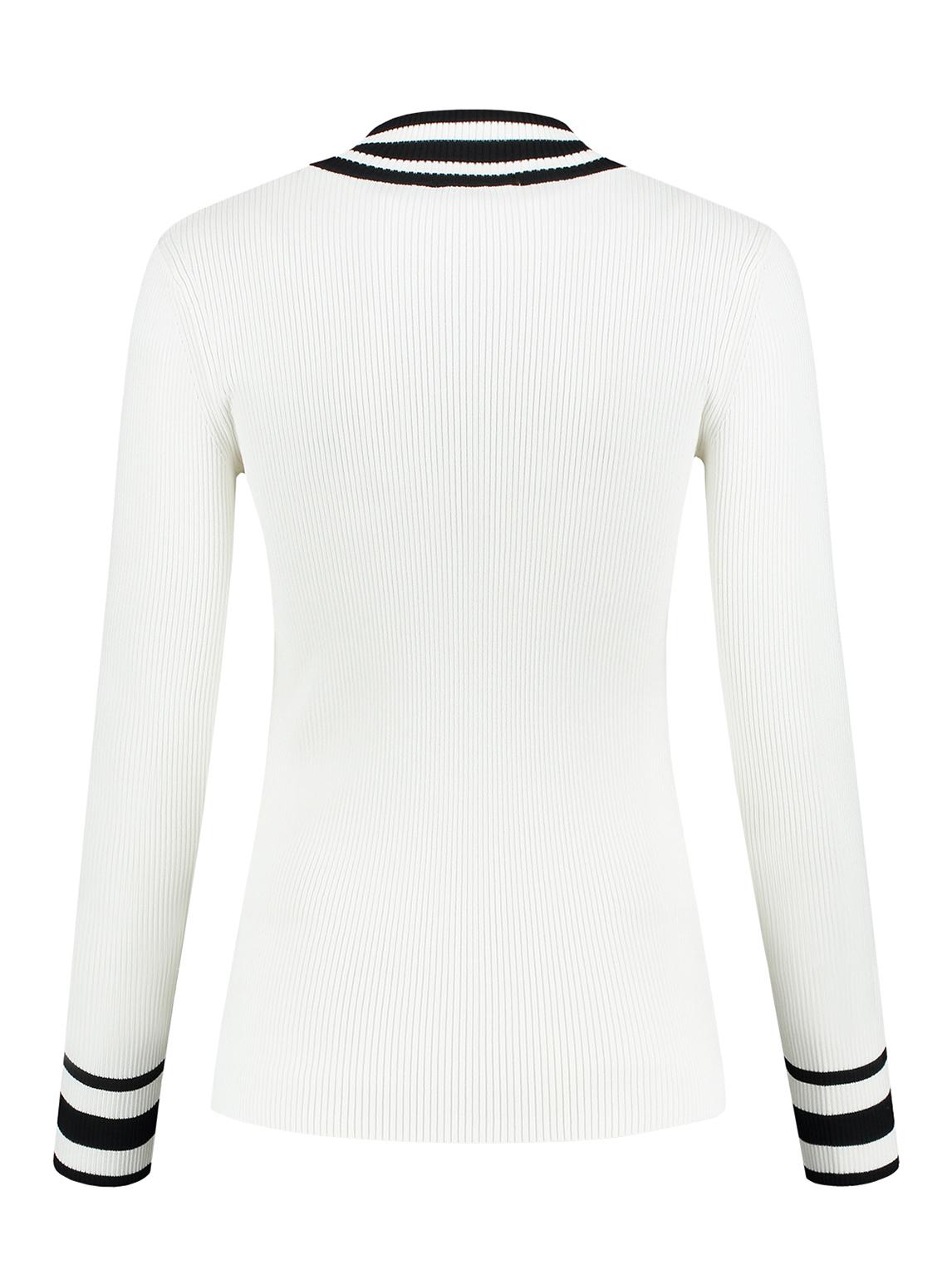 Zwarte Trui Met Witte Strepen.Sportique Zeewolde Dames Witte Trui Met Zwarte Rits Nikkie