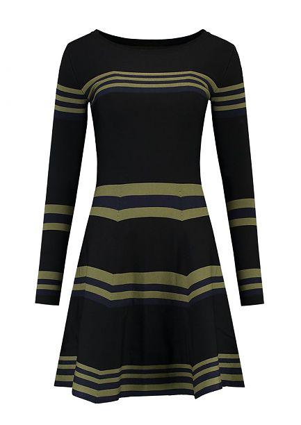 zwart groen gestreepte jurk