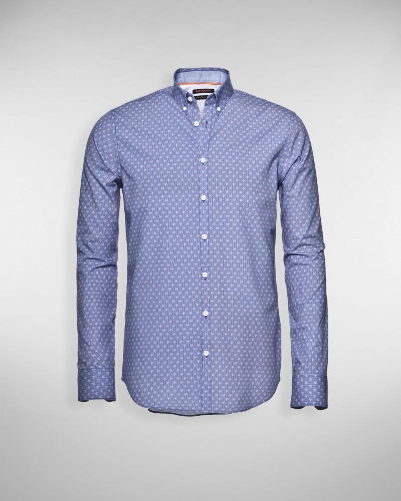 Overhemd Getailleerd Heren.Sportique Zeewolde Heren Blauw Heren Overhemd Print Blue
