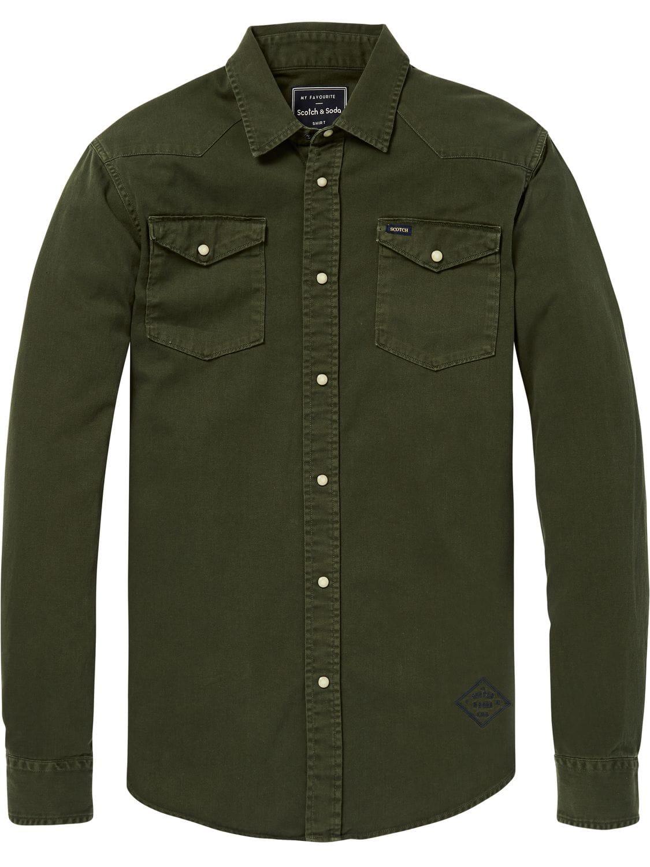 Heren Overhemd Met Drukknopen.Sportique Zeewolde Heren Heren Overhemd Groen Scotch Soda