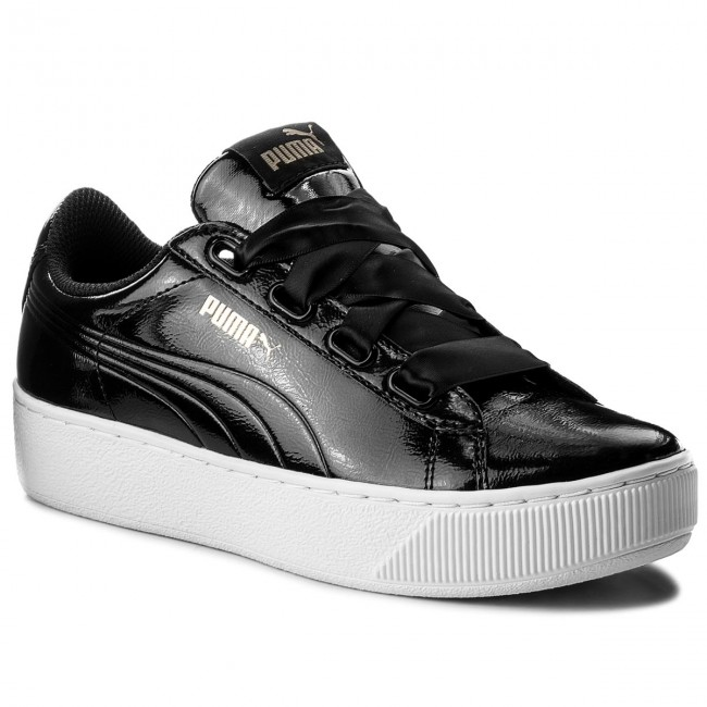 Zwarte witte Dames Sneaker Puma Vikky Platform Ribbon P - 366419-01
