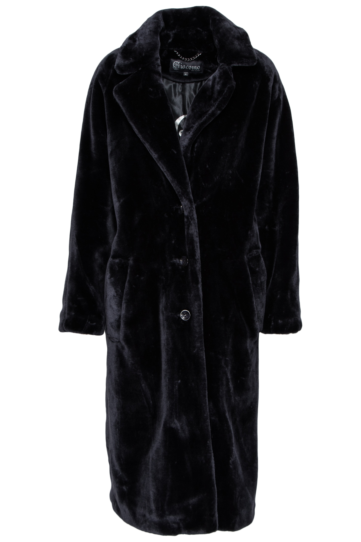 Donkerblauwe lange faux fur bontjas Giacomo - 66.13.426