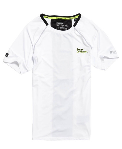 Wit zwart Training shirt Superdry Athletic panel tee -m10025pqf1