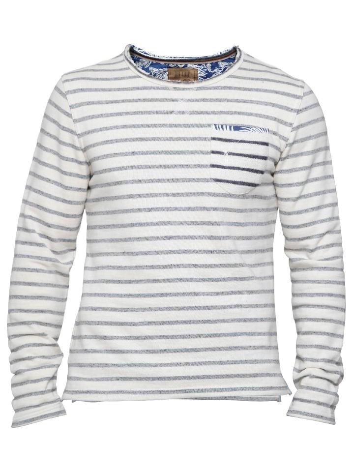 ecru blauw gestreepte sweater Pearly King Wafer