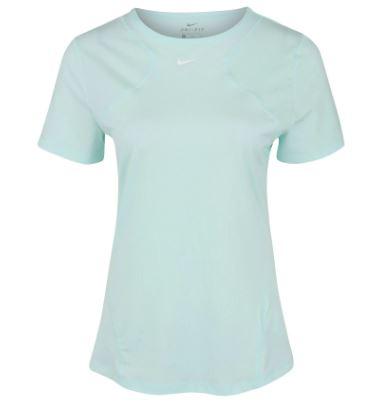 Lichtblauw Dames T-shirt Nike NP Top SS All Over Mesh - AO9951 336