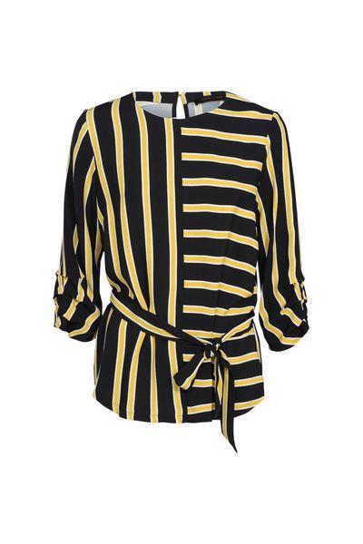 Zwart Geel Gestreepte Dames Blouse Summum - 2s2221 10783