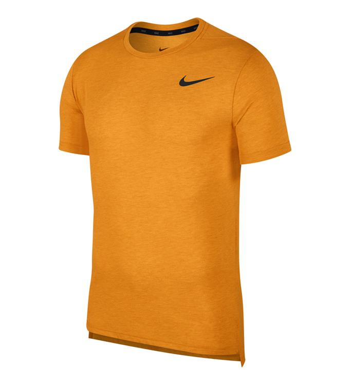 Oranje heren t-shirt Nike  Dri-Fit Breathe - AJ8002 833