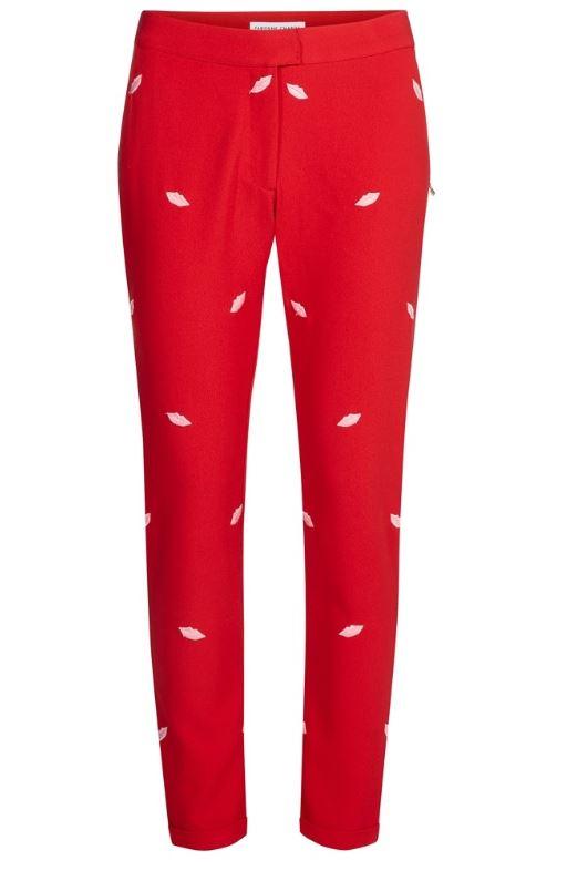 Rode dames broek met lipjes print Fabienne Chapot - Demi trouser