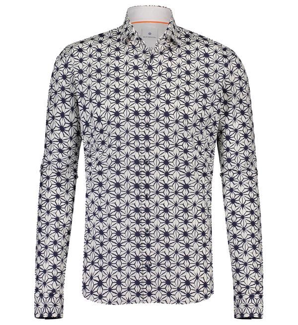 Witte heren blouse met print Blue Industry - 1216.91