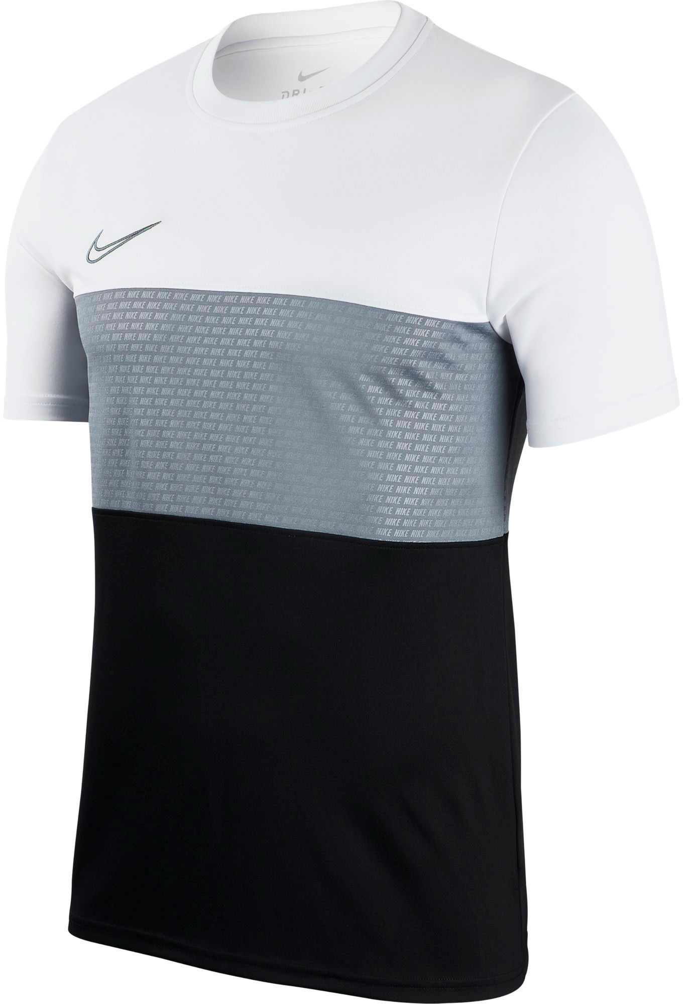 Zwart wit heren t-shirt met grijze print Nike Dry Academy GX - AJ9998 102