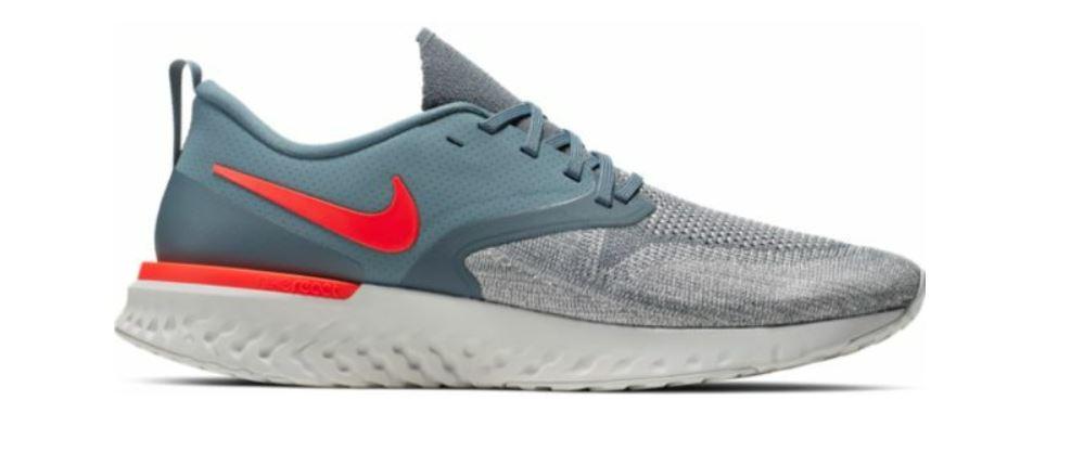Grijze heren schoenen met rode details Nike Odyssey react 2 Flyknit - AH1015 403