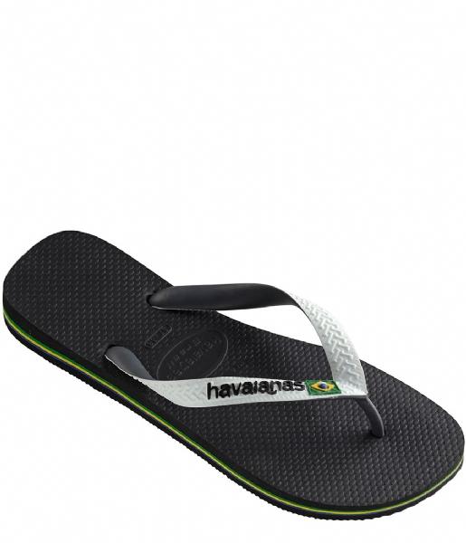 Zwarte heren slipper met witte band Havaianas - 4123206 0133