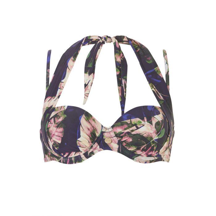 Zwarte bikini top met print Wow multiway - 20056 334