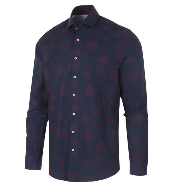 Donkerblauw heren overhemd met print Blue Industry - 1145.92