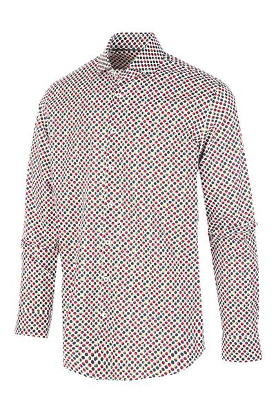 Wit heren overhemd met allover print Blue Industry - 1256.92