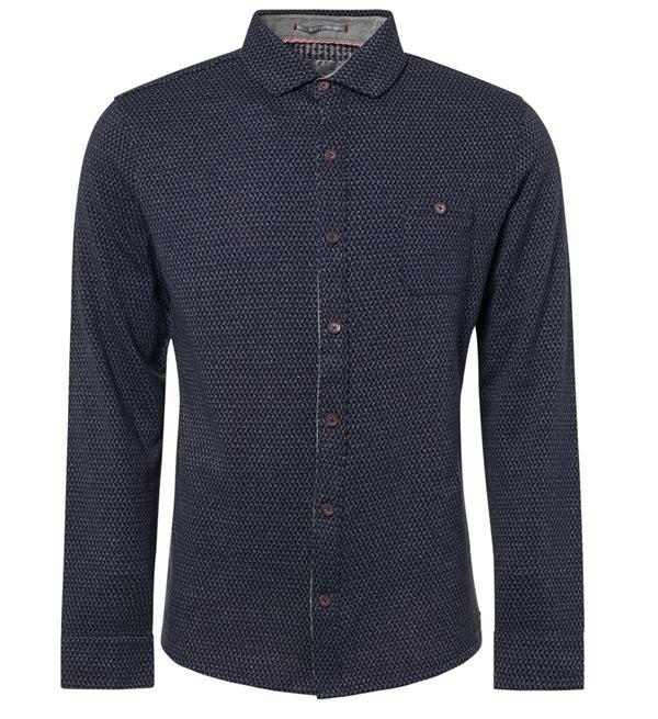 Blauw heren overhemd met print No Excess - 92410809 078