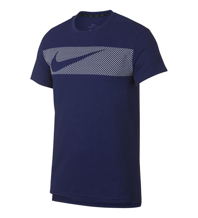 Donkerblauw heren tshirt Nike Breathe Hyperdry - AJ8004 492