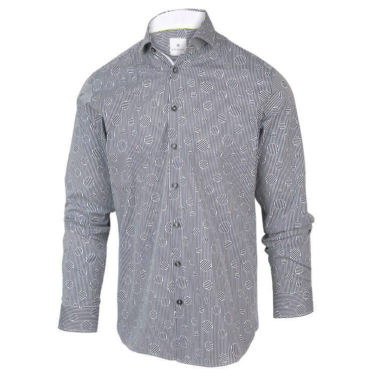 Wit heren overhemd met all-over print Blue Industry - 2063.21