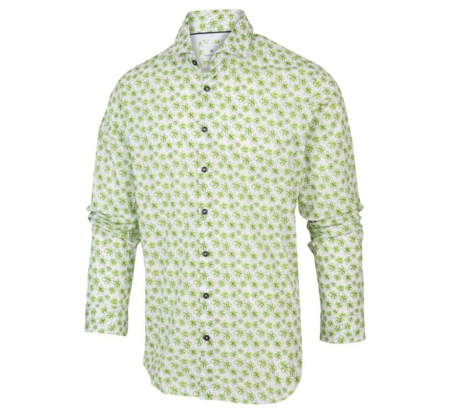 Wit heren overhemd met groene bloemen print Blue Industry - 2065.21