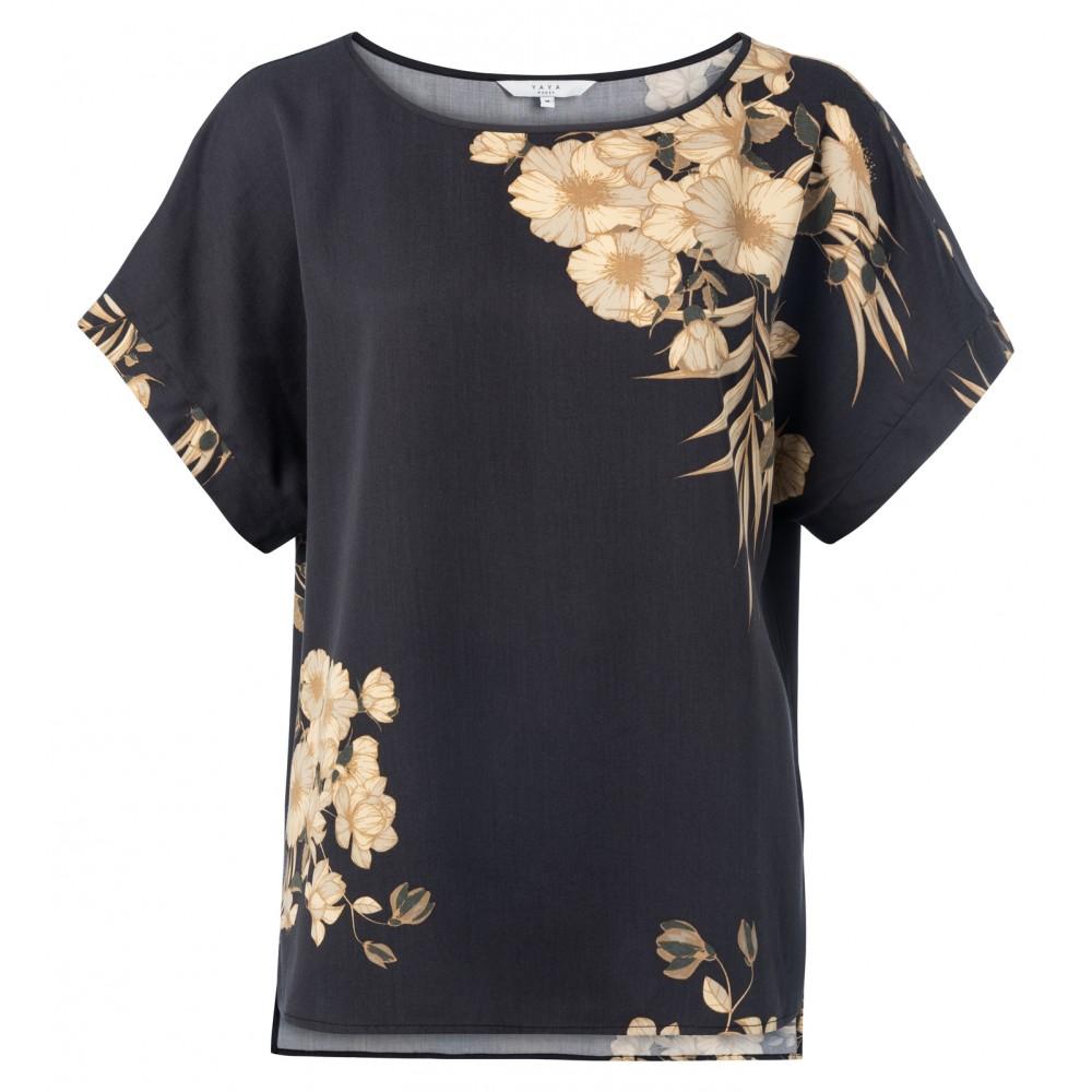 Zwarte dames blouse met bloemenprint YAYA - 1901293-013 943051