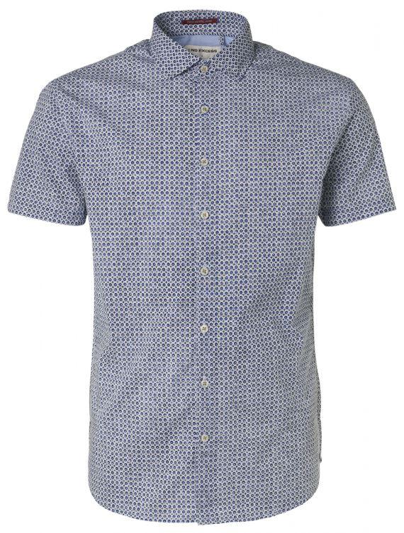Blauw heren overhemd met print No Excess - 95460305 078