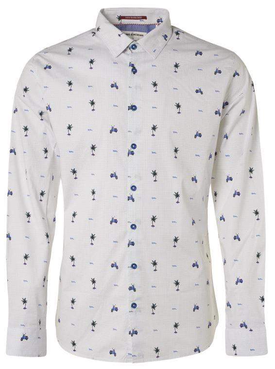 Wit heren overhemd met print No Excess - 95430203 135