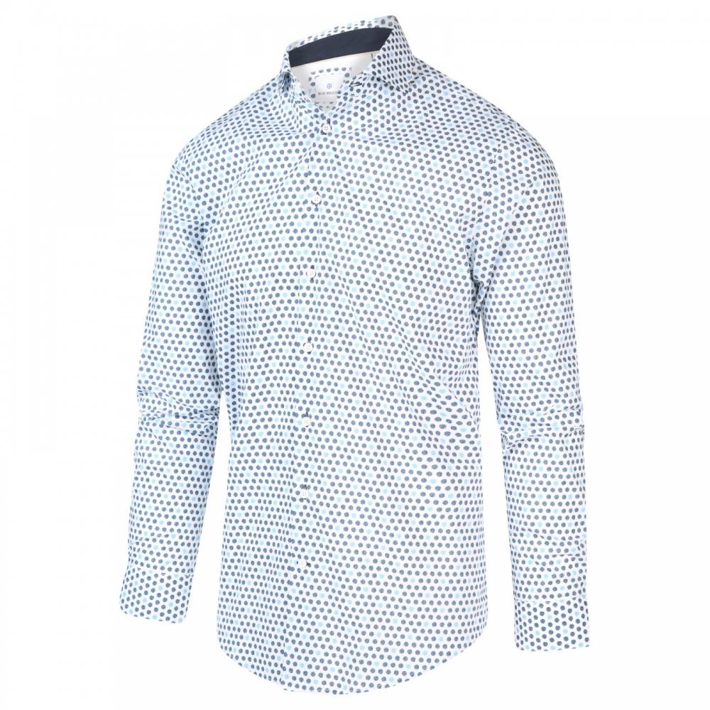 Wit heren overhemd met all-over print Blue Industry - 2023.21