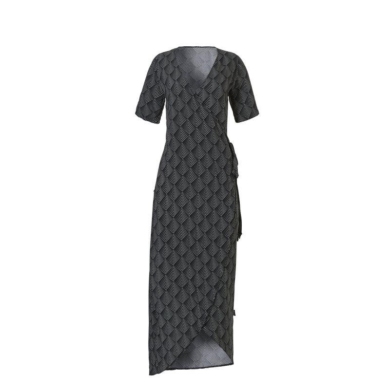 Zwarte wrap dress met print WOW - 20203 3026