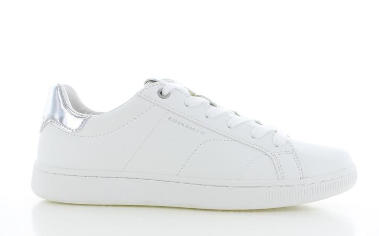 Witte dames sneakers met zilvere hak - T304 1904