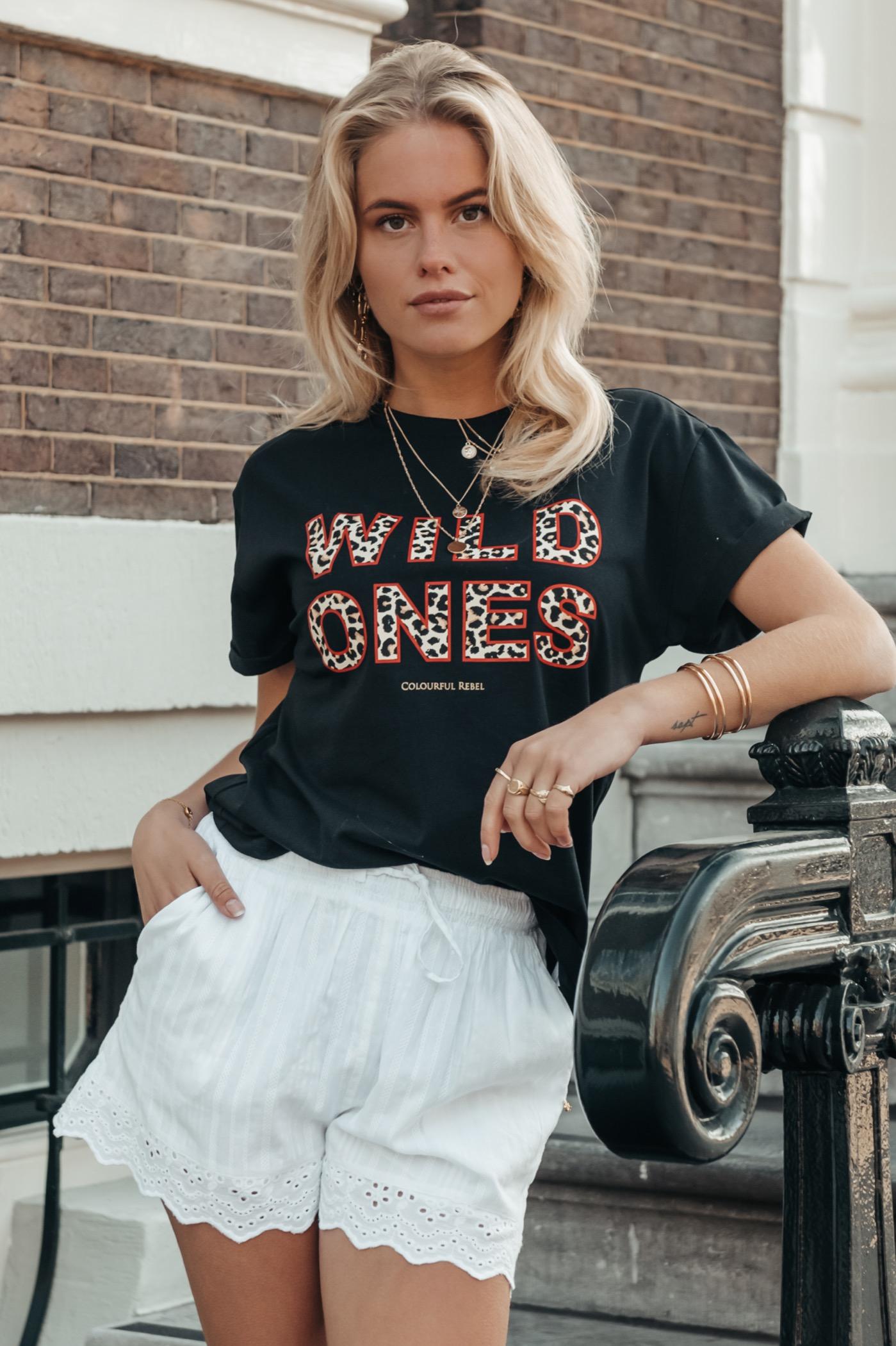Zwart dames t-shirt met print Colourful Rebel - Wild Ones Tee black