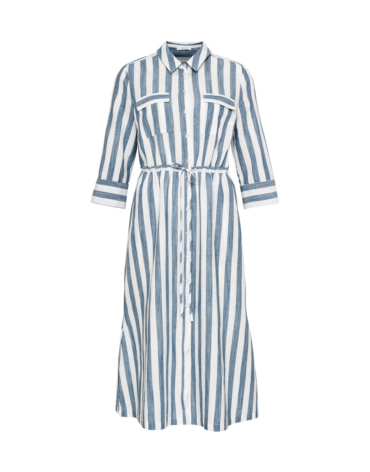Blauw gestreepte linnen dames jurk Opus - Weife 6071