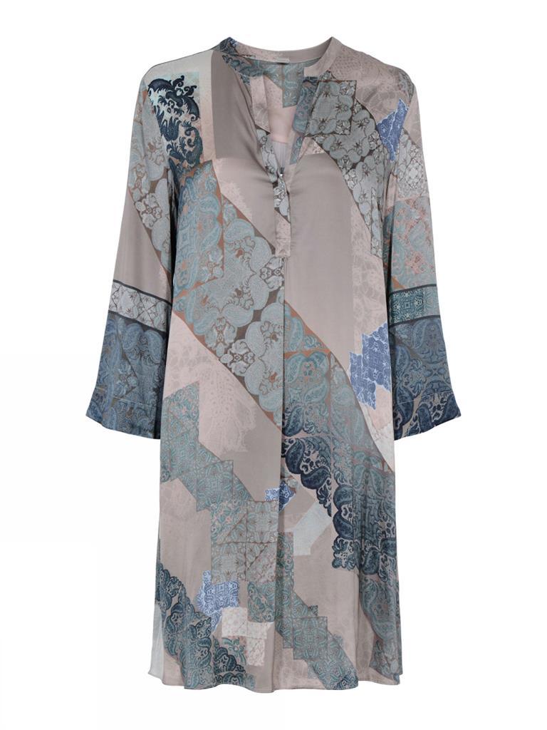 Blauwe dames jurk met print Gustav - 7292-0-3942
