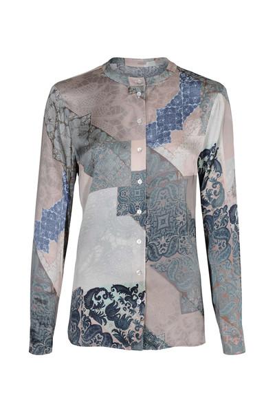 Blauwe dames blouse met print Gustav - 7292-0-3942