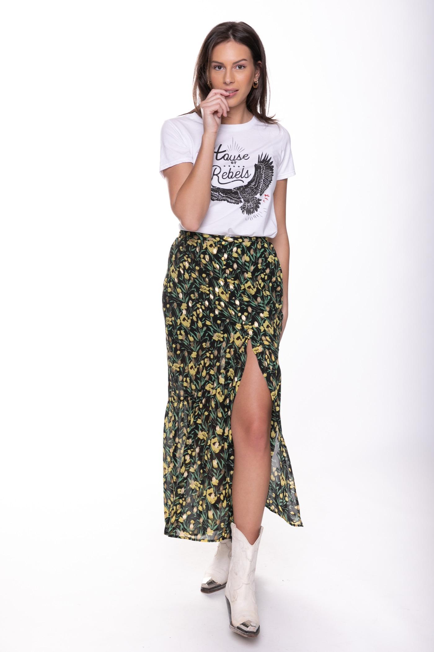 Zwarte dames rok met Gele bloemenprint Colourful Rebel - Rive Flower