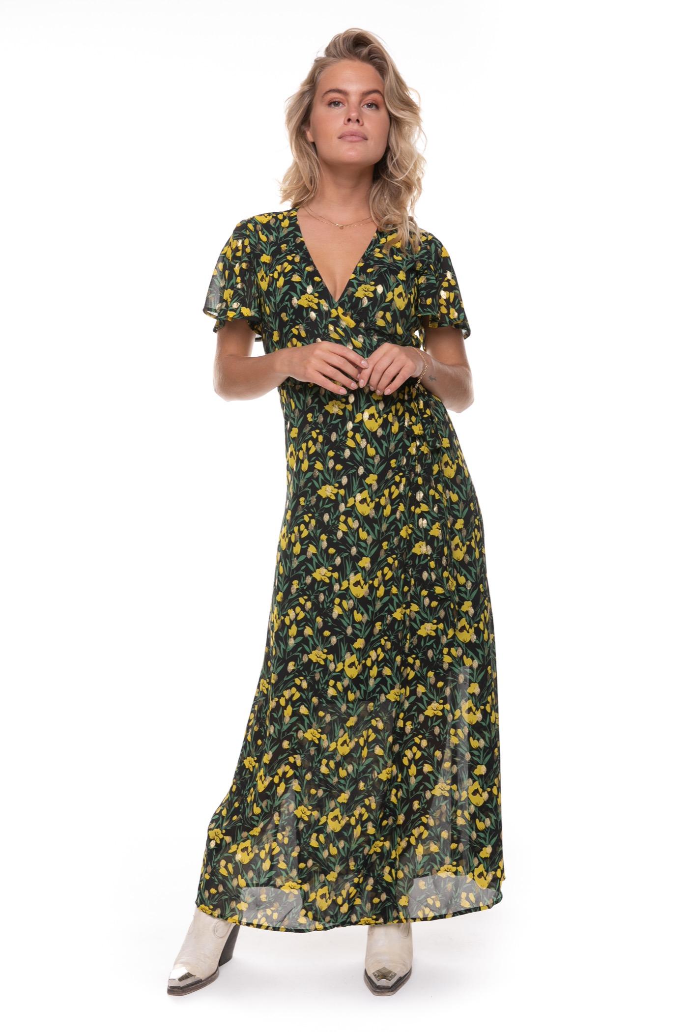 Zwarte dames jurk met bloemen print Colourful Rebel - Ava Flower Maxi
