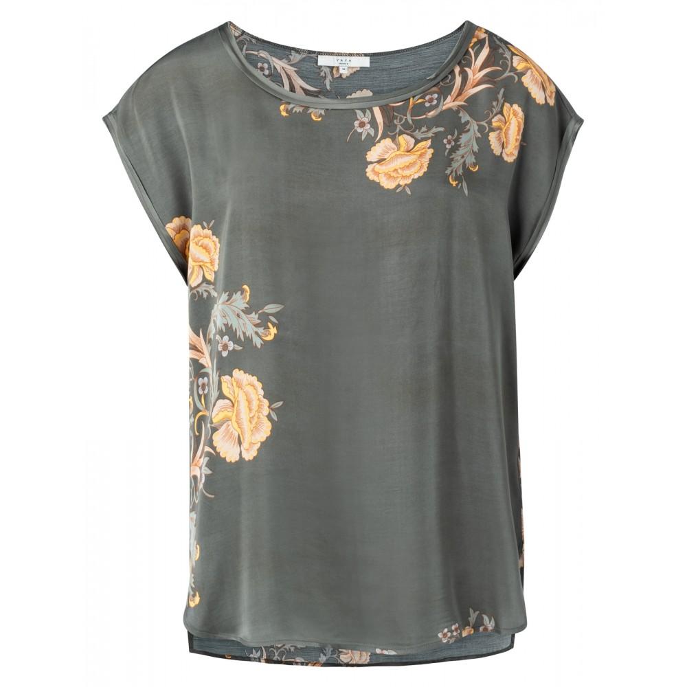 Grijze dames blouse met print YAYA - 1901335-021 805101