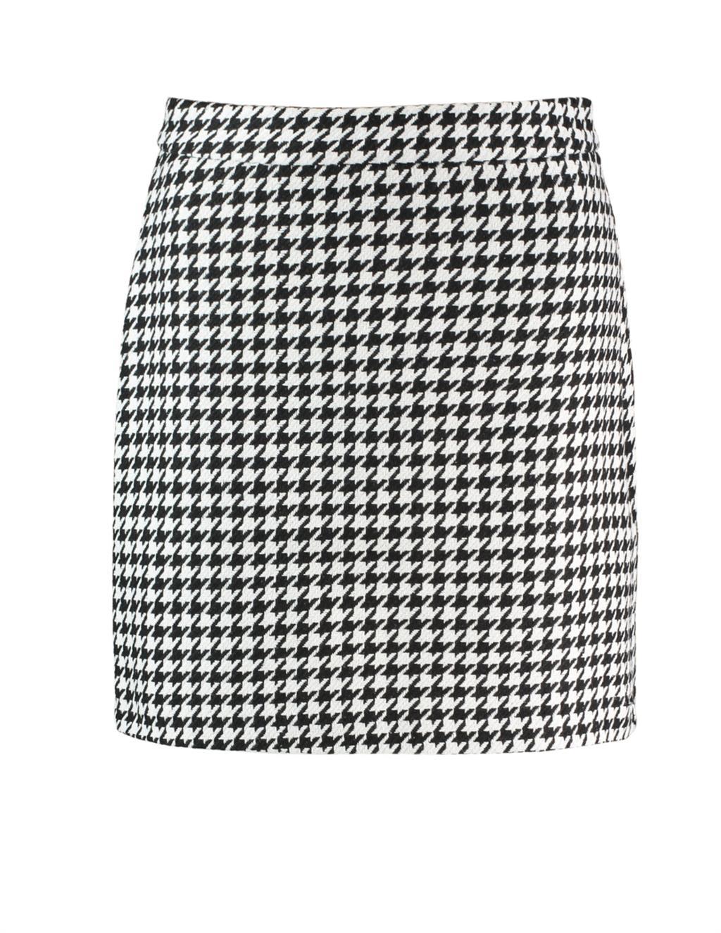 Witte dames Rok Na-kd - A-line Houndstooth Skirt black/white