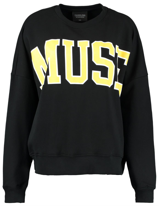 Zwarte dames sweater met print Colourful Rebel - Muse black