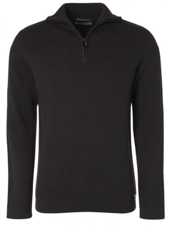 Donkerblauwe heren pullover met 1/4 rits No Excess - 97230811SN