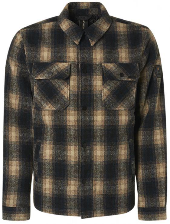 Zwarte heren jas met ruit print No Excess - 97630923