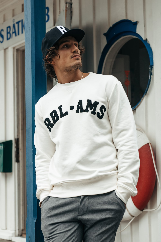 Witte heren trui Colourful Rebel Basic sweater - 9364 off white