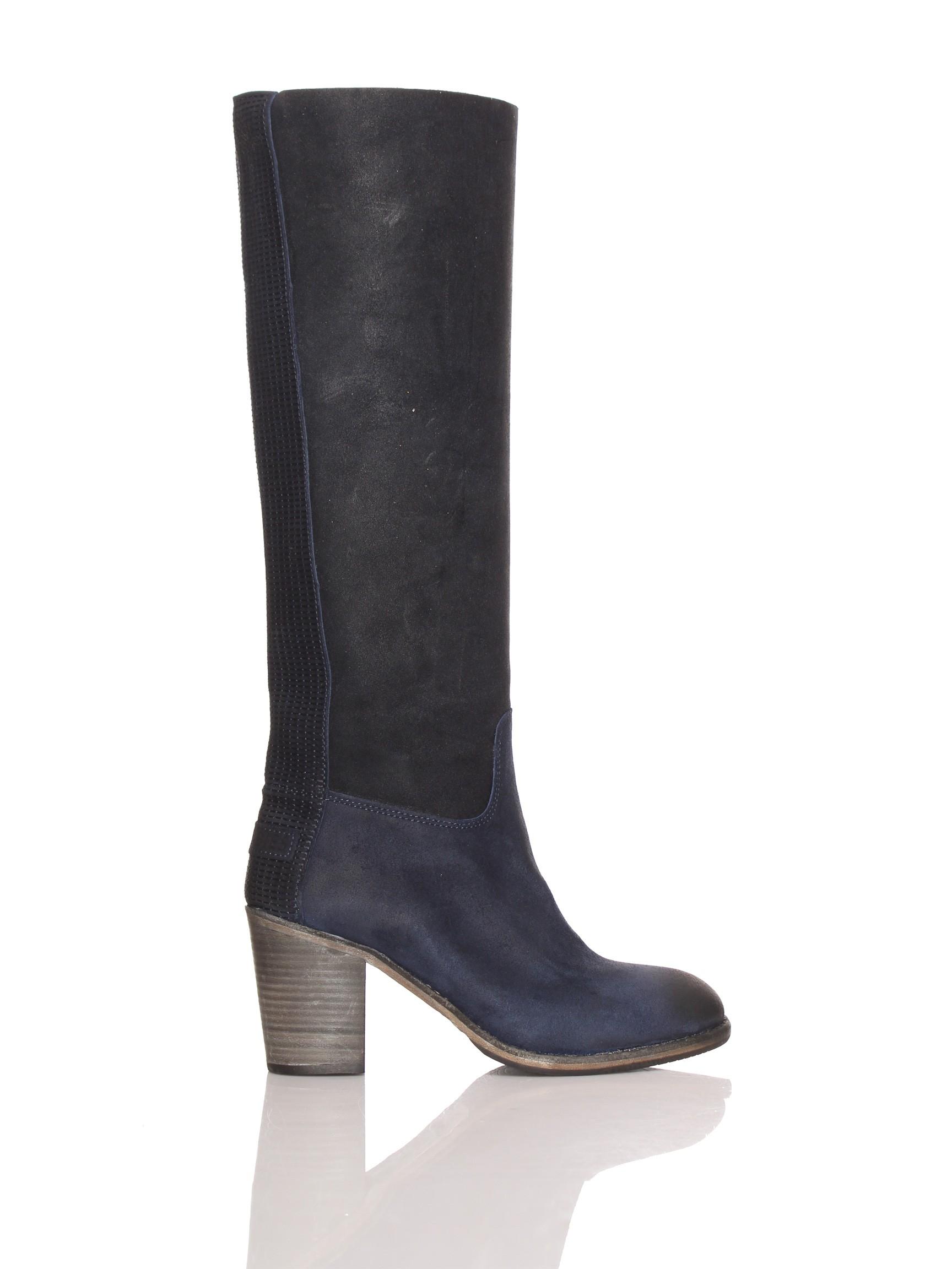 Donkerblauwe dames laars lang Shabbies - 250191