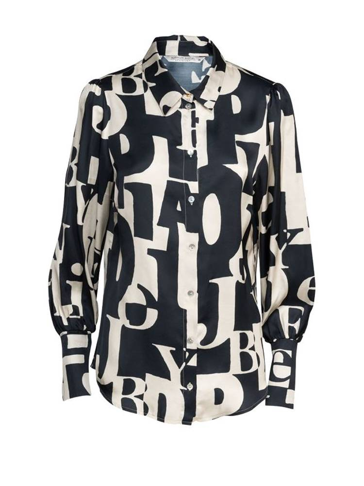 Zwart/witte dames blouse Summum - 2S2504-990 black