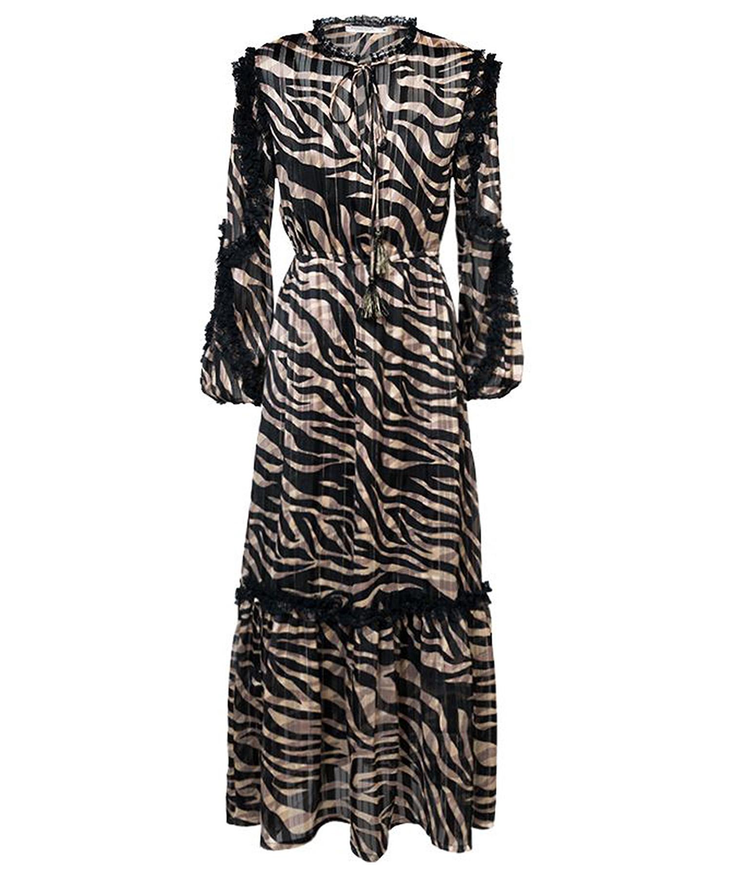 Zwarte geprinte dames maxi jurk - Summum Woman - 5s1230-11348 - 990 black