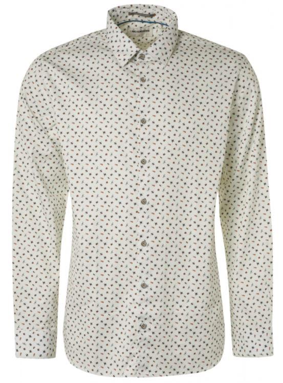 Wit heren overhemd met print No Excess - 99481109 010