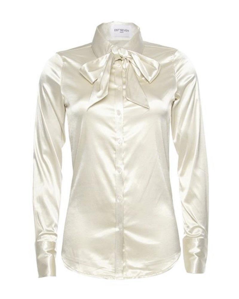 off white satijnen blouse Est'Seven Est Chemisier