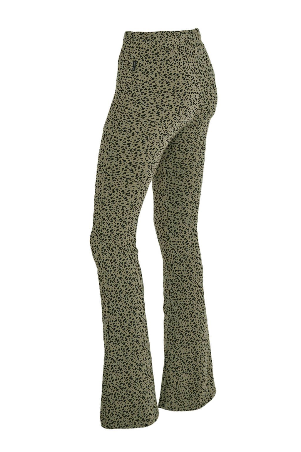 Flare broek Colourful Rebel Leopard dot flare pant 9388 army