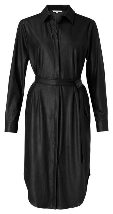 Zwarte imitatie leren jurk YaYA 1801303-024